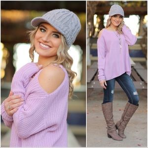 Gray cable knit brimmed beanie hat